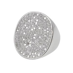 Large Pavé Cubic Zirconia Round Statement Ring,NWT
